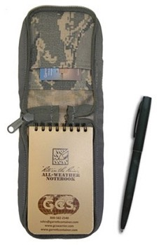 GCS ABU Cover with  3x5 Tan Notepad and Black All Weather Pen