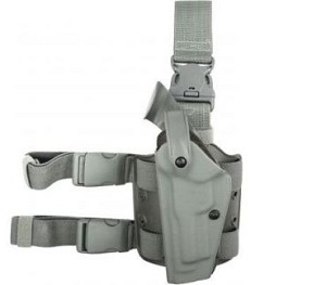 Safariland 6005 Left Hand Foilage Green Tactical Drop Holster with Sentry Lock (Hood Guard Not Included)